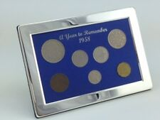 60th Birthday Gift - 1958 Luxury Silver Framed, Coin Year Boxed Gift Set