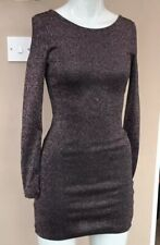 H&M Glittery Bodycon Dress Size 8 Pink Black Lurex Sparkly Mini Party Night Out