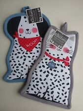 Cat and Dog Shaped Pocket  Cotton Oven Mitt NWT Set of 2