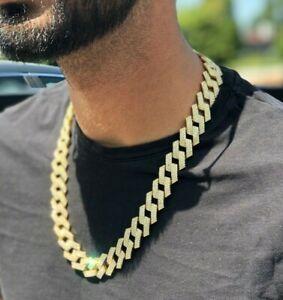Miami Cuban Diamond Prong Link Hip Hop Choker Iced 14K Yellow Gold Plated Chain