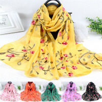 Elegant Women Long Embroidery Cotton Scarf Wrap Lady Shawl Large Silk Scarves CO