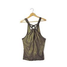 Ralph Lauren Black Label size M sleeveless halter top tank blouse metallic gold