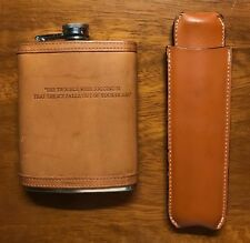 J.Crew Leather Flask (Very rare - collectible item) + Leather cigar case.