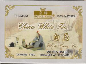 3x Royal King China White Peony Tea 100% Natural CAFFEINE FREE 20 Tea Bag