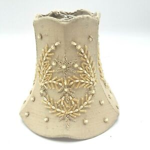 Beaded Lamp Shade Silk Shantung Pearls Bell Candelabra Clip-On Gold Beige