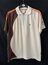 Adidas Vintage 90s Cricket Training Shirt Polyester Beige Orange Brown Men XXL