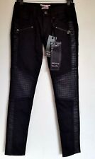 Rerock For Express Jeans Skinny Black Moto Biker Style Size 26 NWT Coated sides