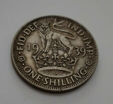 1939 Uk Great Britain 1 One Shilling Silver Coin 1S George Vi