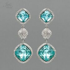 Rhodium Plated Aqua Blue Crystal Rhinestone Wedding Drop Dangle Earrings 06934