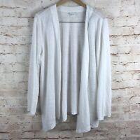 J. Jill Love Linen Womens Long Sleeve White Linen Cardigan Sweater Size Medium
