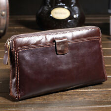Men Real Leather Business Day Clutch Handbag Multi Function Large Wallet