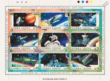 History of Space Exploration 9v Stamp Sheet (1999 Sierra Leone/Shuttle/Soyuz)