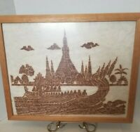 Vintage Thai Temple Rubbing Temple buildings Dragon Boat Fish Red Charcoal Rice
