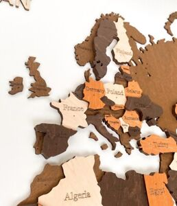 """Multilayered Wooden World Wall Map in Brown Colors  XL size 78"""" x 39"""""""