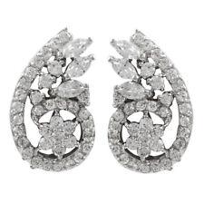 Sterling Silver White CZs Flower Bouquet Clip On Earrings