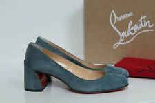 New sz 6.5 / 36.5 Christian Louboutin Blue Suede Miss Sab Low Heel Pump Shoes