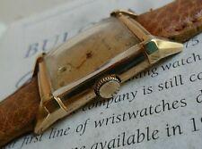 Clean Vintage 1947 Men's Bulova 21 Jewel American Eagle 10k G/F Tank Watch Runs