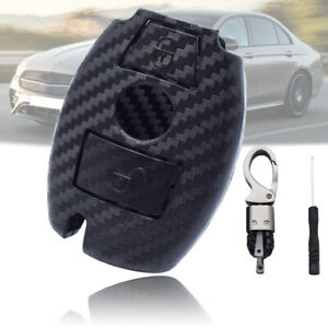 2 Button Car Carbon Fiber Key Shell Cover Fob For Mercedes Benz A B C S Class