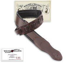 Walker & Williams G-43 Cognac Brown Padded Guitar Strap Soft Glove Leather Back