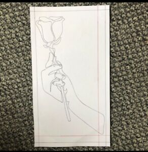 A4 ink drawing/painting/print - rose/hand - red/black will be framed