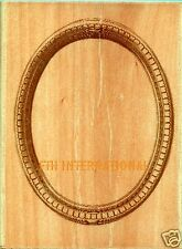 ANNA GRIFFIN ~ Oval Cartouche Wood Mount Rubber Stamp #580J38 Frame, Cameo, New