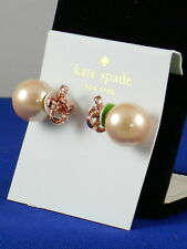 Kate Spade Rose Gold IT'S A TIE Pave' Bow Faux Pearl Reversible Stud Earrings