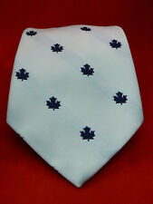 """PIERRE CARDIN Polyester Blue Maple Leaves on White Necktie Canada 59"""" x 4.25"""""""