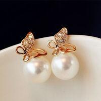 Fashion Women Golden Flying Butterfly Imitation Pearl Ear Stud Earrings