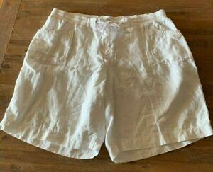 Ladies plus size 20 White AUTOGRAPH linen shorts pockets