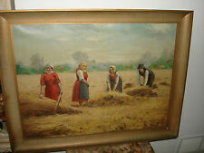Poland Oil Painting On Canvas The Grain Harvest  By Regional People Kozakiewicz