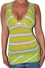 Sexy Green Burnt-out Lurex Threads Banded Glamp V-neck Cleavage top S Club Party