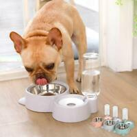 Automatic Dual Feeder Water Bowl Dish Holde For Pet Food Drink Dispenser Dog Cat
