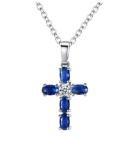 Cross Pendant Necklace Set With CZ Stones Silver Chain Blue S5