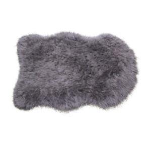 Faux Sheepskin Rug Grey Single Pelt 2x3 ft not REAL Sheep Fur Genuine Lookalike