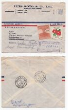 1960 COLOMBIA Registered Air Mail Cover BOGOTA to HAMBURG GERMANY Re-directed