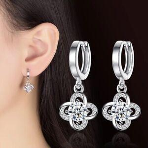 925 Sterling Silver Lucky Clover Crystal Dangle Drop Earrings Hoop Gift