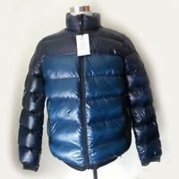 "DKNY Men Puffer Coat Men Size M Jacket Navy Blue Amber Colors Natural Down 24""x"