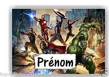 Plaque de porte en ( sur ) bois Avengers avec prénom   N° 121