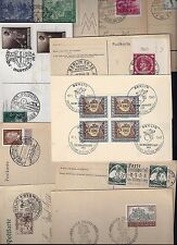 GERMANY 1936 48 COLL OF 9 POST CARDS WITH PREWAR WAR TIME & POST WAR ISSUES