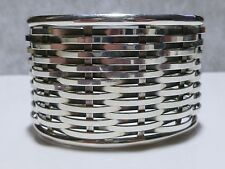 70+ GRAM BASKET WEAVE LARGE WIDE STERLING SILVER WOMENS MODERN CUFF BRACELET