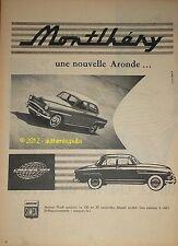 Publicite de 1957 SIMCA ARONDE MONTLHERY FRENCH CAR AD PUB ADVERT