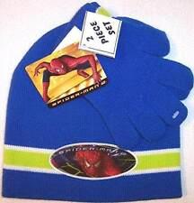 NWT Spider-Man 2 Boy'sBlue Knit Cap & Gloves Set, 4-7