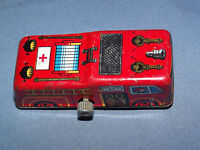 VINTAGE TOY  1960-70S  KANTO TOYS  MINI TIN  LITHO WIND UP FIRE TRUCK