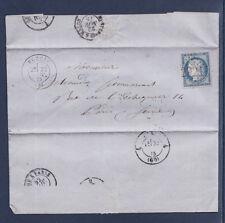 timbre France lettre Cérès  25c bleu num 60C seul sur lettre  1875  Poncin