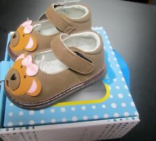 NEW WEE SQUEAK BABY GIRLS HONEY BEAR LEATHER MARY JANE SQUEAKY SHOES SZ 3