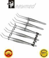 5 Pcs. Dental Tweezers Cotton Dressing Pliers Serrated Tip Dental Surgical Lab