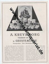 A. Kreymborg tabac-Usine Geestemünde Fumée + à mâcher Grande publicité Anno 1924