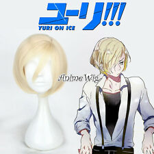 30CM Light Blonde Short Anime For YURI! on ICE Yurio Wavy Men Cosplay Party Wig