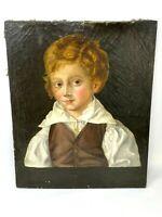 Portrait d'Enfant & Anonyme & XIX -ème Siècle & Peinture & Huile sur Toile & HST