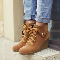 Platform Wedge Ankle Boots High Heels Womens Casual Shoes Lace up Autumn Size
